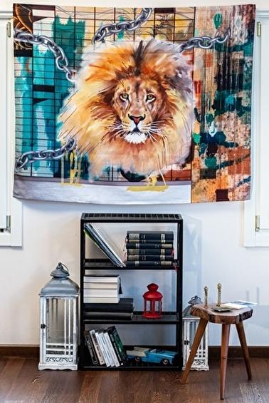 home-bath Duvar Örtüsü Strong Lion Renkli